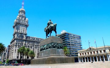 Salvo building and Artigas Independence Square - Montevideo, Uruguay