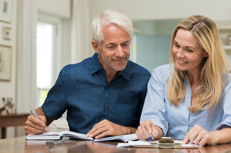 Mature couple budgeting