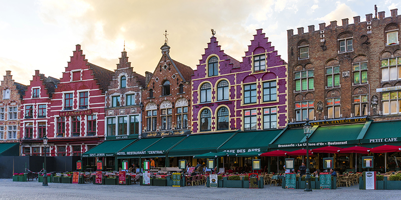 Colorful old buildings in Bruges Belgium