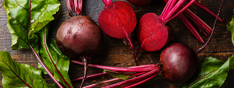 Red Beetroot with green leaves