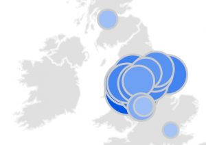 Manchester airport parking searches from a wide region around the UK, Source google trends