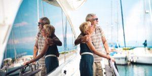 Senior couple on cruise ship