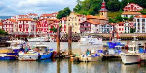 colourful Basque houses in port of Saint-Jean-de-Luz