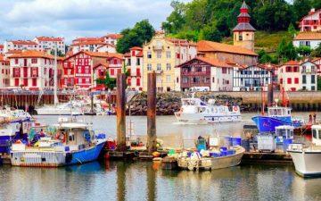 colourful Basque houses in port of Saint-Jean-de-Luz